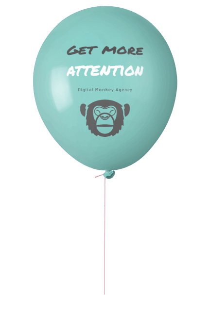 Luftballon mit dem Logo der Digital Monkey Agency auf dem Get more Attention steht